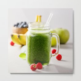 green fresh smoothie Metal Print