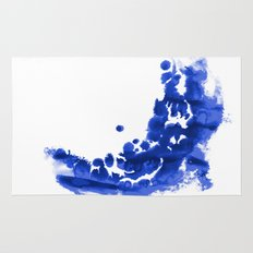 Paint 9 abstract indigo watercolor painting minimal modern canvas affordable dorm college art  Rug