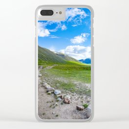 Alpine steppe in the background of snowy mountains. Altai Mountains, Russia. Clear iPhone Case
