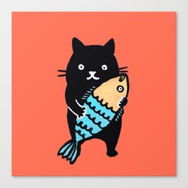 kitty with fish Canvas Print