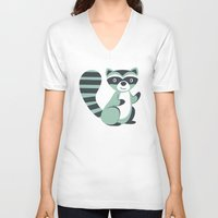 raccoon V-neck T-shirts featuring Raccoon by olillia