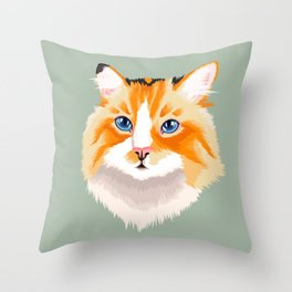 Chimera Tortie Cat Throw Pillow