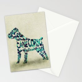 The Cane Corso Typography Art / Watercolor Painting Stationery Cards