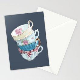 Lean on Me in Navy | Teacup Painting Wall Art Stationery Cards