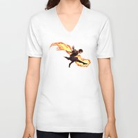 zuko V-neck T-shirts featuring Fight Fire With Fire by Junryou