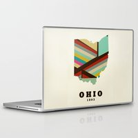 ohio state Laptop & iPad Skins featuring Ohio state map modern by bri.buckley