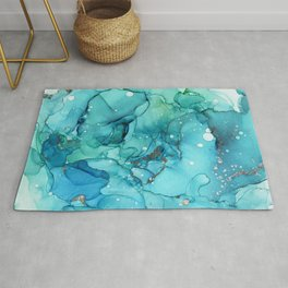 Teal Chrome Flowing Abstract Ink Rug
