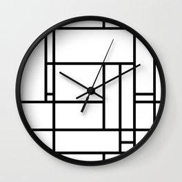 Mondrian linear pattern Wall Clock