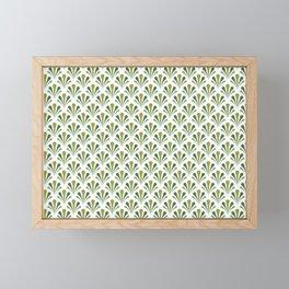 Art Deco Style Golden Greens Blues Shells Fan Shape Pattern Framed Mini Art Print