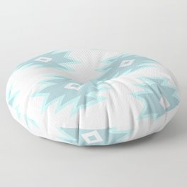 Aztec Motif Art Pattern Blue Gray White Floor Pillow