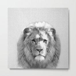 Lion - Black & White Metal Print
