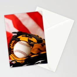 Baseball Sits In Glove On American Flag Stationery Cards