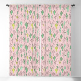 Green & Yellow Cactus on Pink Blackout Curtain