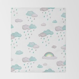 Rainy Days Clouds & Rainbows Throw Blanket