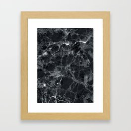 Black marble texture Framed Art Print