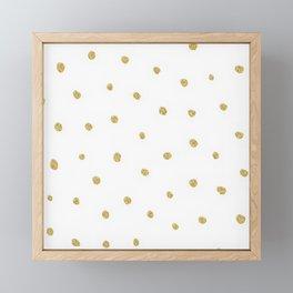 Golden touch I - Gold glitter small polka dots pattern - Confetti Framed Mini Art Print