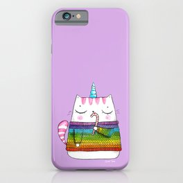 Rainbow Caticorn eating a candy cane iPhone Case