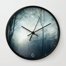 Dark Path - Misty Forest in November Wall Clock