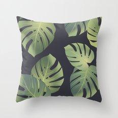 Monstera tropical leaf Throw Pillow