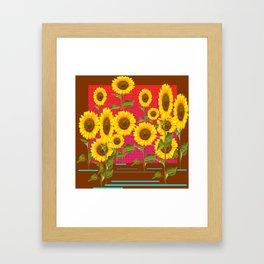 BROWN SUNFLOWER FIELD SAFFRON GRAPHIC ART Framed Art Print