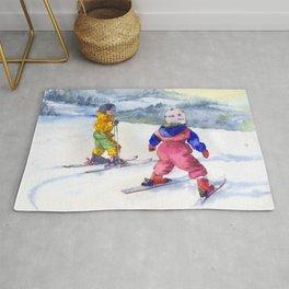 Watercolor skiing, skiers kids Rug