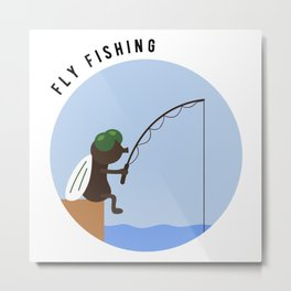 Funny Fly Fishing Baitcaster Angling Nymphs Gift Metal Print