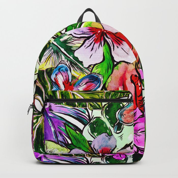 Tropical Flower Hibiscus Garden Backpack