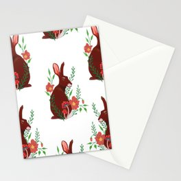 Floral Rabbit Pattern Stationery Cards