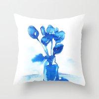 tulips Throw Pillows featuring Tulips by Zsofi Porkolab