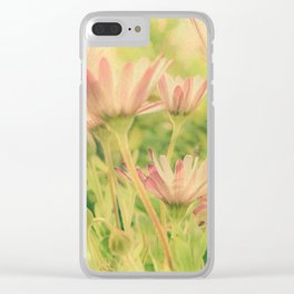 Vintage Spring Coral Pink Daisy Flowers Clear iPhone Case