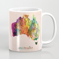 australia Mugs featuring Australia  by mark ashkenazi