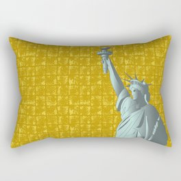 Statue of Liberty on Gold-leaf Screen Rectangular Pillow