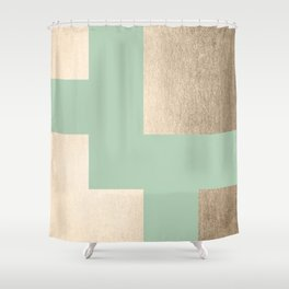 Simply Geometric White Gold Sands on Pastel Cactus Green Shower Curtain