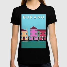 Burano, Italy Travel Poster Block Type T-shirt