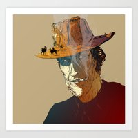 cowboy Art Prints featuring Cowboy by Mitt Roshin