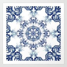 blue garden mandala Art Print