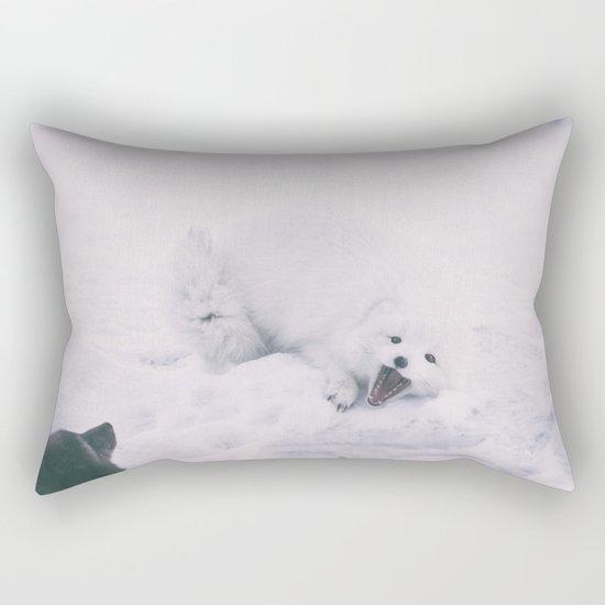 ARCTIC FOXES PLAYING Rectangular Pillow