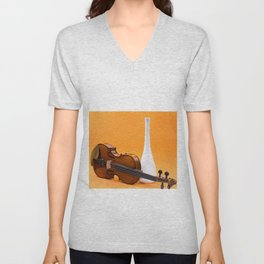 Still life with violin and white vase on an orange Unisex V-Neck