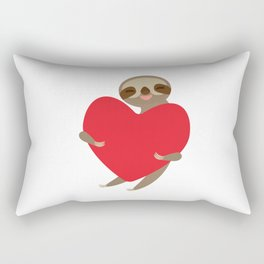 Funny sloth with a red heart Rectangular Pillow
