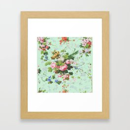 Antique romantic vintage 1800s Victorian floral shabby rose flowers pattern aqua mint hipster print Framed Art Print