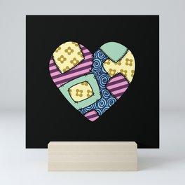 Patchwork heart Mini Art Print