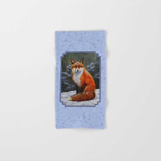 Cute Red Fox in Snow Hand & Bath Towel