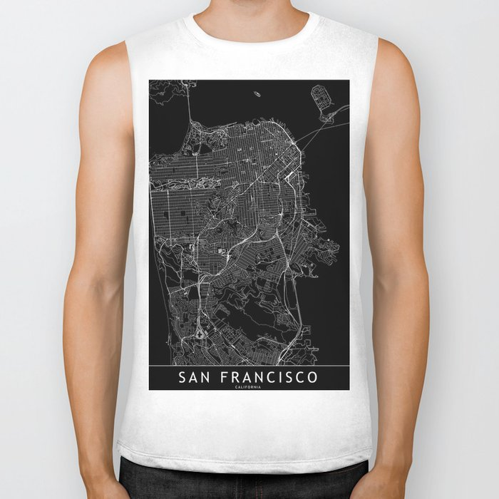 San Francisco Black Map Biker Tank