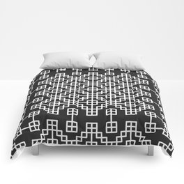 Chinese style grid pattern in black & white Comforters
