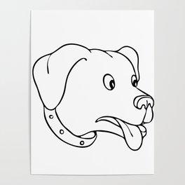 Labrador Retriever Surprised Drawing Poster