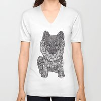 pomeranian V-neck T-shirts featuring My Precious Pomeranian by DiAnne Ferrer