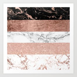 Modern chic color block rose gold marble stripes pattern Art Print