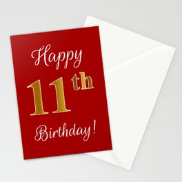 """Elegant """"Happy 11th Birthday!"""" With Faux/Imitation Gold-Inspired Color Pattern Number (on Red) Stationery Cards"""