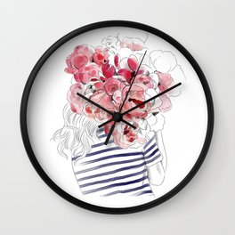 Back from the flower market - Peonies bouquet illustration Wall Clock