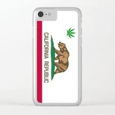 California Republic state flag with green Cannabis leaf Clear iPhone Case